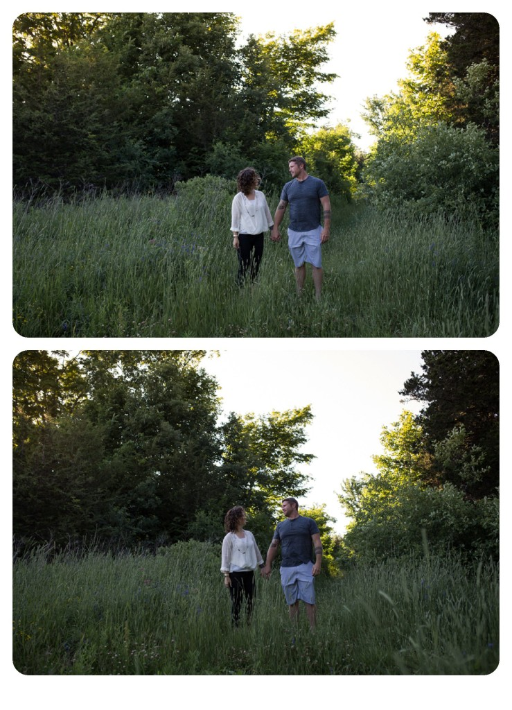 engaged couple walking in field, engaged couple walking in field, Kingston wedding photographer, Brockville wedding photographer, Ottawa wedding photographer